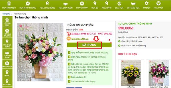 Thanh toán trực tuyến hoa tươi 360