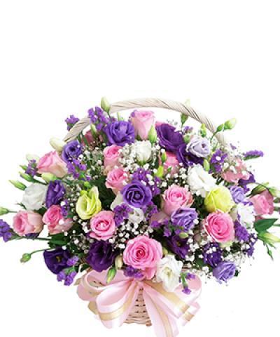 Hoa sinh nhật - Giỏ hoa tươi Tím thủy chung