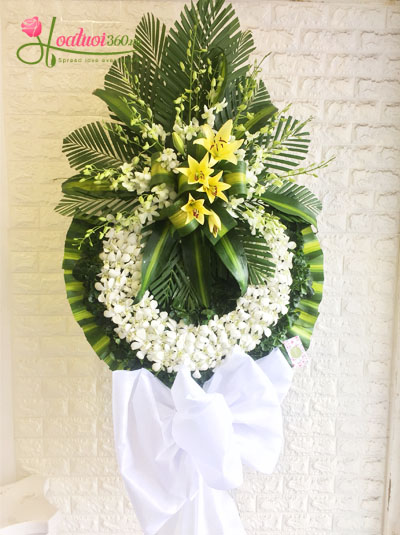Kệ hoa chia buồn- Vòng hoa lan trắng