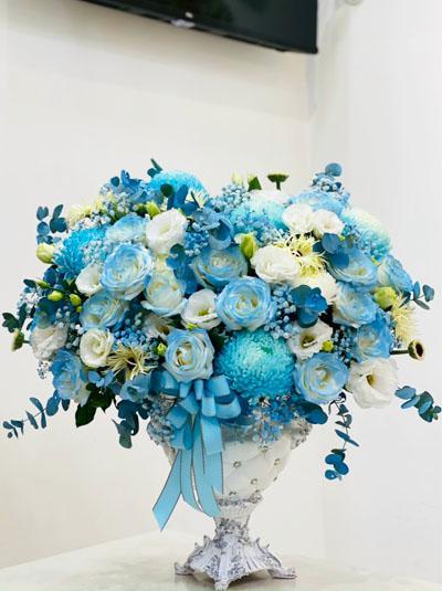 Bình hoa chúc mừng tone xanh sang trọng