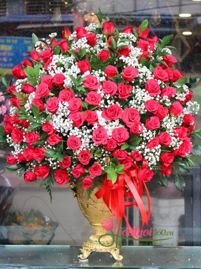 Bình hoa hồng đỏ baby - Princess