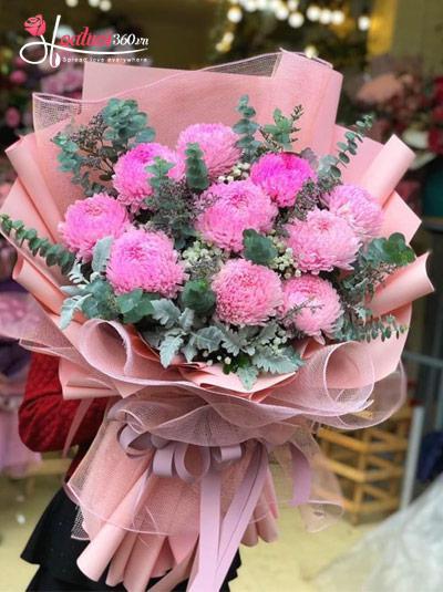 Bó cúc mẫu đơn hồng - Sắc hoa
