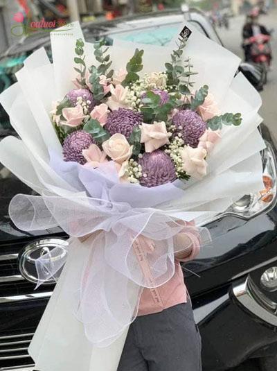 Bó cúc mẫu đơn kết hợp hoa hồng - Lãng mạn
