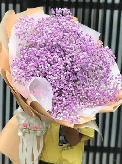 Bó hoa baby tím - Lời trái tim anh