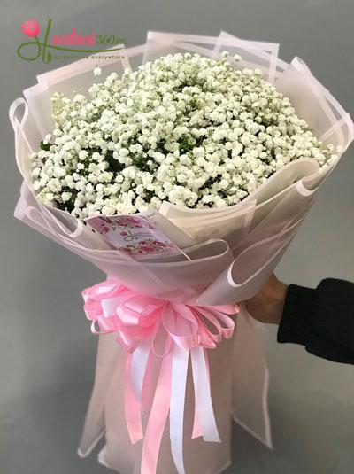 Bó hoa baby trắng - Cô bé dỗi hờn