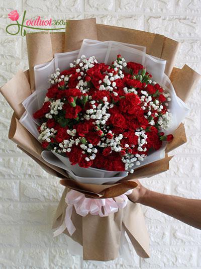 Bó hoa cẩm chướng đỏ đẹp nhất