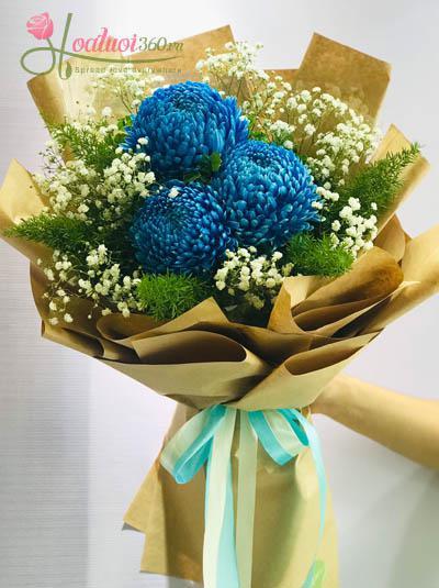 Bó hoa cúc mẫu đơn - Blue love