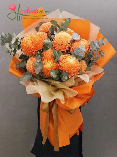 Bó hoa cúc mẫu đơn cam - Hạt nắng lung linh