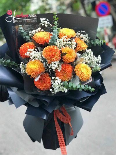 Bó hoa cúc mẫu đơn cam - Ngày nắng hạ