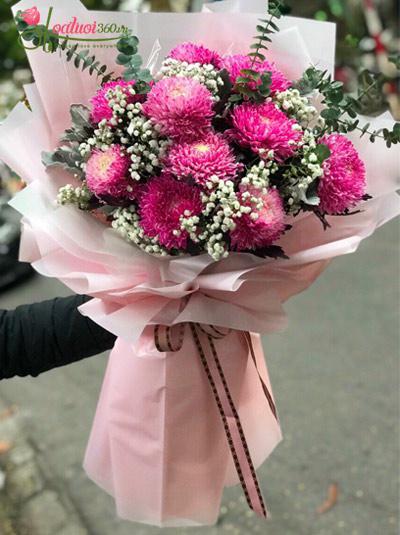 Bó hoa cúc mẫu đơn hồng - Bờ vai ấm áp