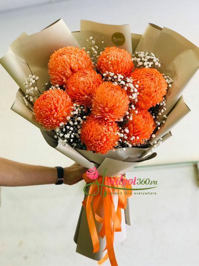 Bó hoa cúc mẫu đơn màu cam - Rực cháy yêu thương