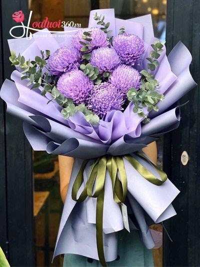Bó hoa cúc mẫu đơn tím - Sweet dream