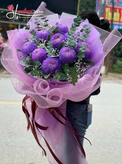Bó hoa cúc mẫu đơn tím - Life is beautiful