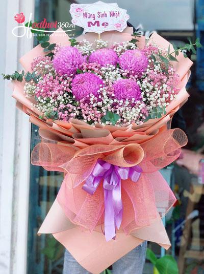 Bó hoa cúc mẫu đơn tím - Pure