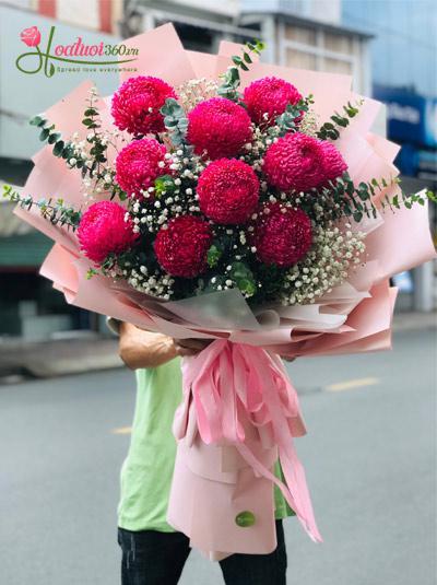 Bó hoa cúc mẫu đơn - Tuổi hồng