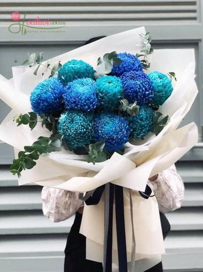 Bó hoa cúc mẫu đơn xanh dương đẹp sang trọng