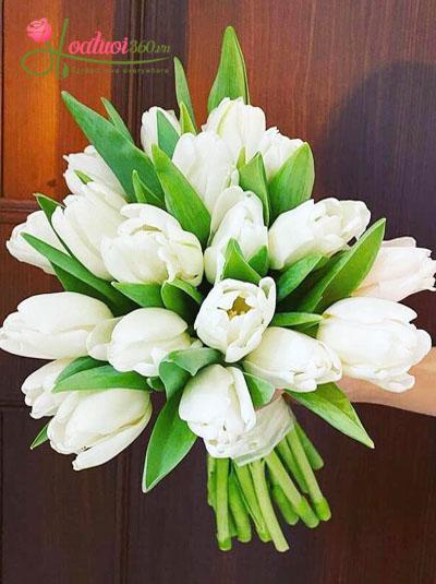 Bó hoa cưới tulip trắng - Tinh khiết