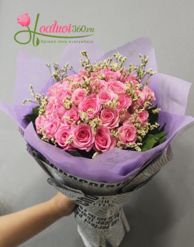 Bó hoa đẹp- bó hồng dâu