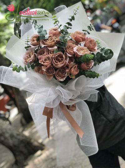 Bó hoa hồng cà phê - Nhung nhớ