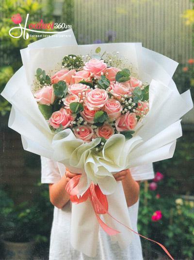 Bó hoa hồng da Pastel - Làm vợ anh nhé