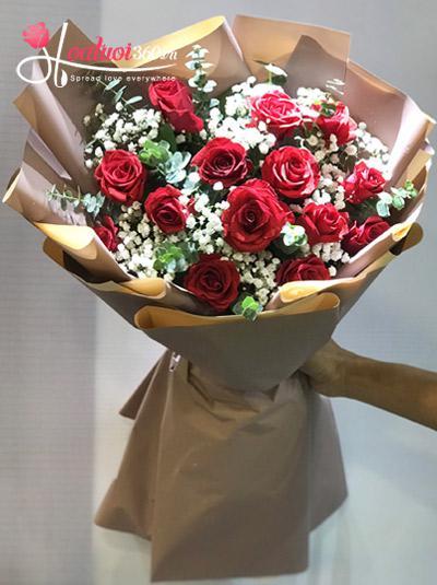 Bó hoa hồng đỏ baby - Ngất ngây