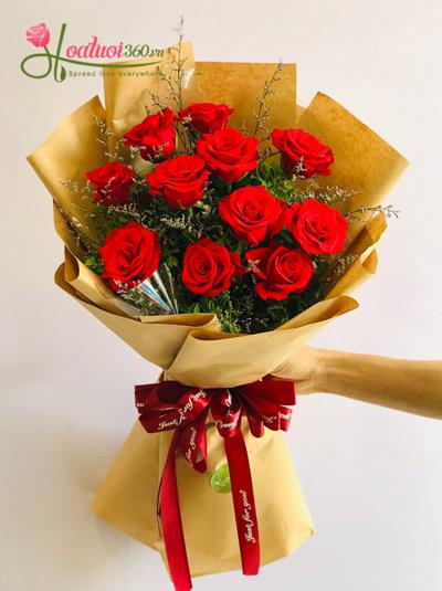 Bó hoa hồng đỏ - Sành điệu