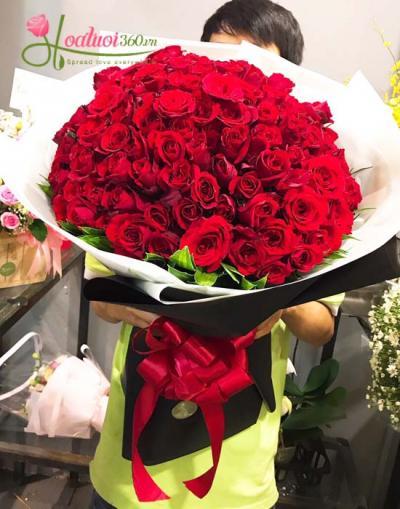 Bó hoa hồng đỏ- Tình đậm sâu