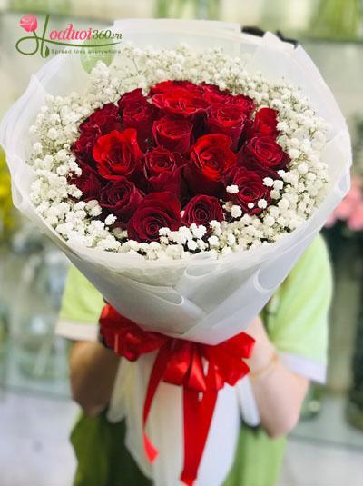 Bó hoa hồng đỏ - Tình đắm say