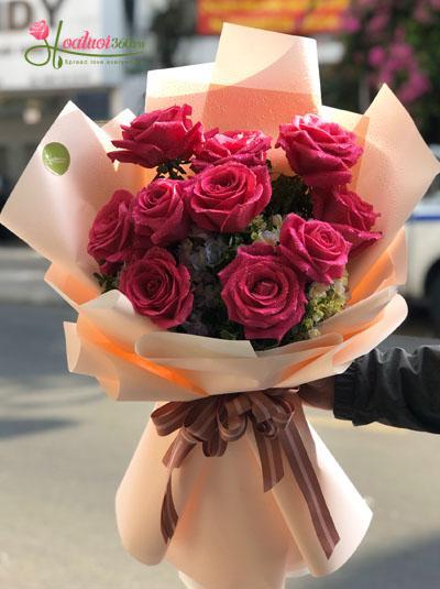 Bó hoa hồng Ecuador màu cánh sen