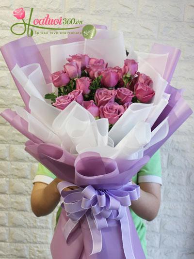 Bó hoa hồng tím- Lãng mạn