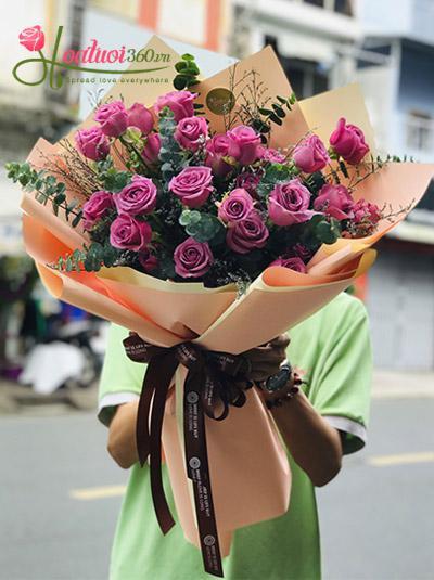 Bó hoa hồng tím - Tình yêu chân thành