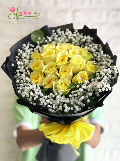 Bó hoa hồng vàng - Tình yêu nồng cháy