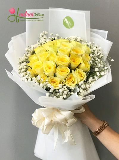 Bó hoa hồng vàng xinh xắn