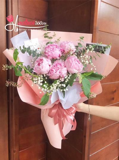Bó hoa mẫu đơn hồng - Concern