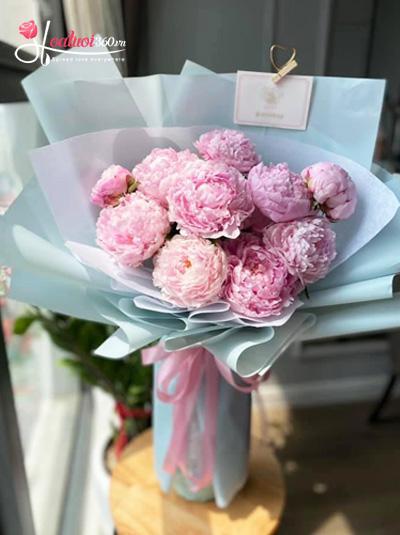 Bó hoa mẫu đơn hồng - Sắc mộng mơ