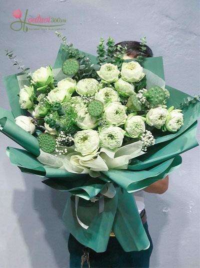 Bó hoa sen trắng kính tặng