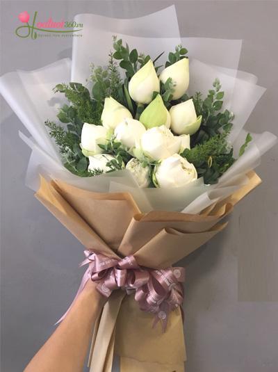 Bó hoa sen trắng - Sang trọng