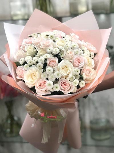 Bó hoa sinh nhật - hồng xinh