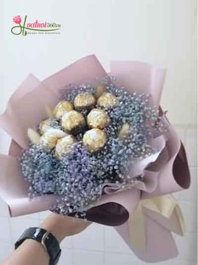 Bó hoa socola kết hợp hoa baby xanh
