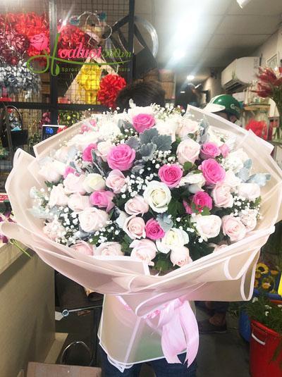 Bó hoa tone hồng pastel - Dành tặng em