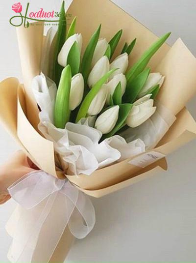 Bó hoa tulip trắng - Duyên dáng