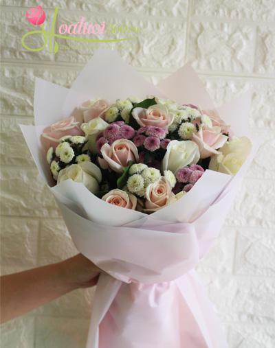 Bó hoa hồng kết hợp cúc đầy ý nghĩa