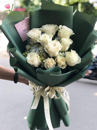 Bó hồng Ecuador trắng