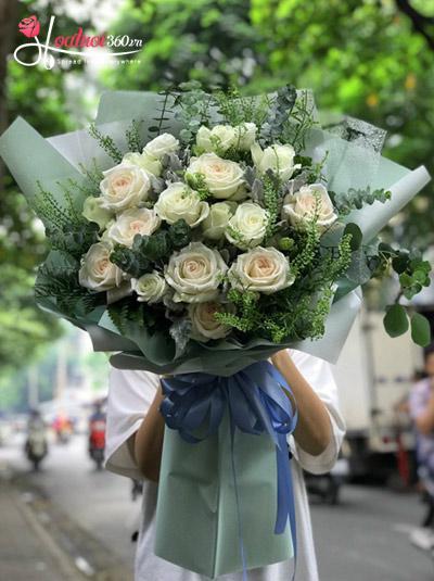 Bó hồng Ohara trắng Fresh