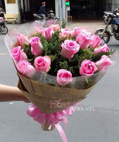 Bó hồng phấn