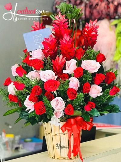 Chậu hoa hồng kết hợp hoa hạnh phúc - Yêu một đời