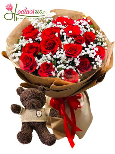 Combo hoa và gấu yêu thương