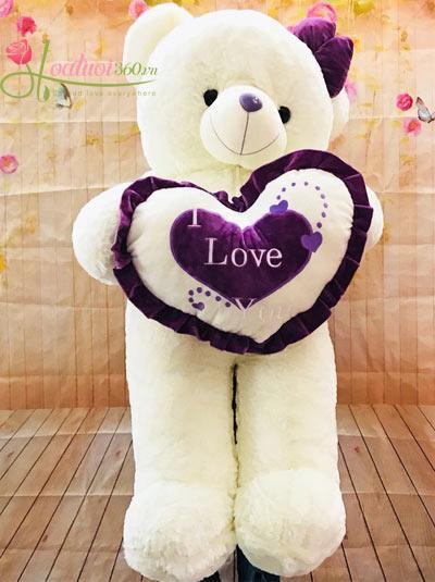 Gấu bông trắng dễ thương 90cm