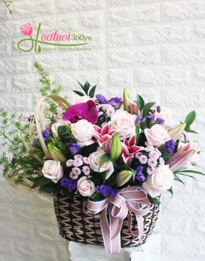 Giỏ hoa chúc mừng đưa ưa chuộng nhất