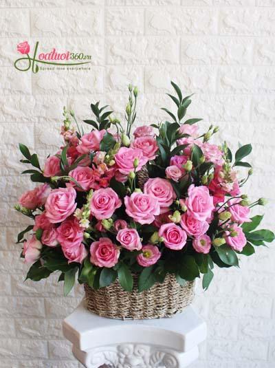 Giỏ hoa chúc mừng- Cánh hồng thơ ngây
